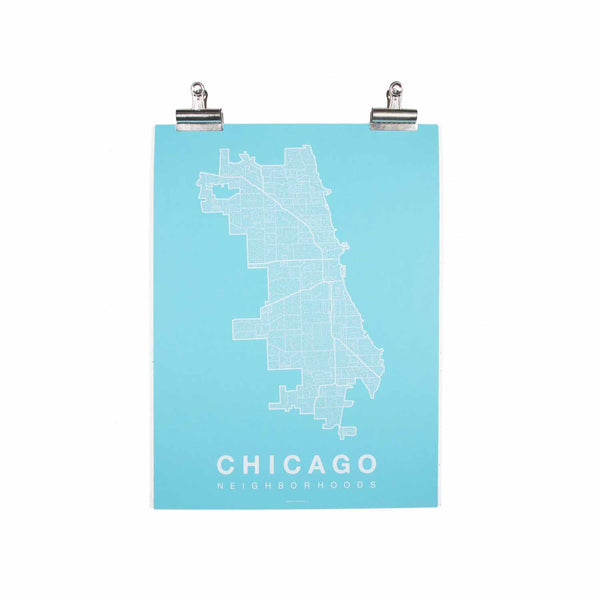 "Chicago Neighborhood Poster - White Ink Screen Print by Hand on Teal Paper - 18""x24"" - Decor - George & Augie"