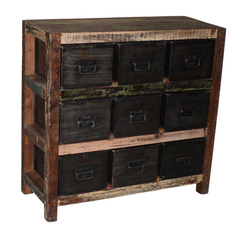 Metal and Wood 9 Drawer Cabinet - Furniture - George & Augie