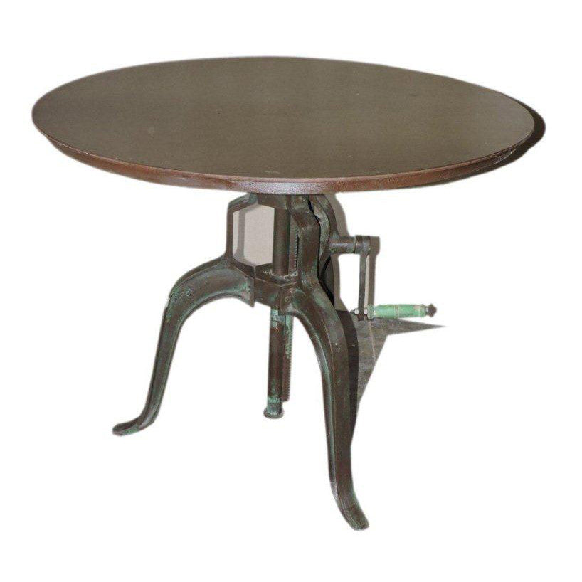 Adjusable Height Metal Round Table - Furniture - George & Augie