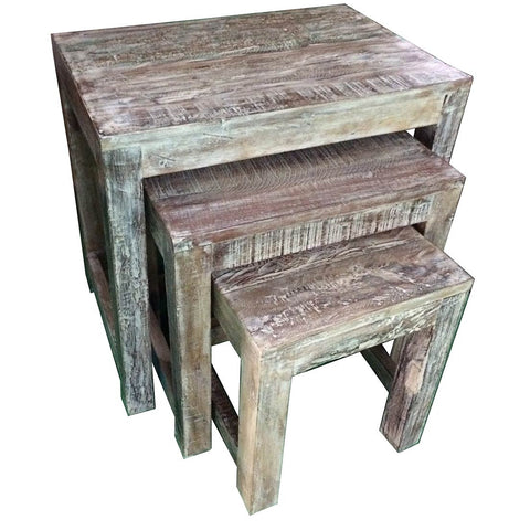 Reclaimed Wood Nesting Table 3 Piece Set - Furniture - George & Augie