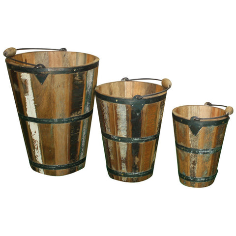 Medium Reclaimed Wood Bucket - Decor - George & Augie