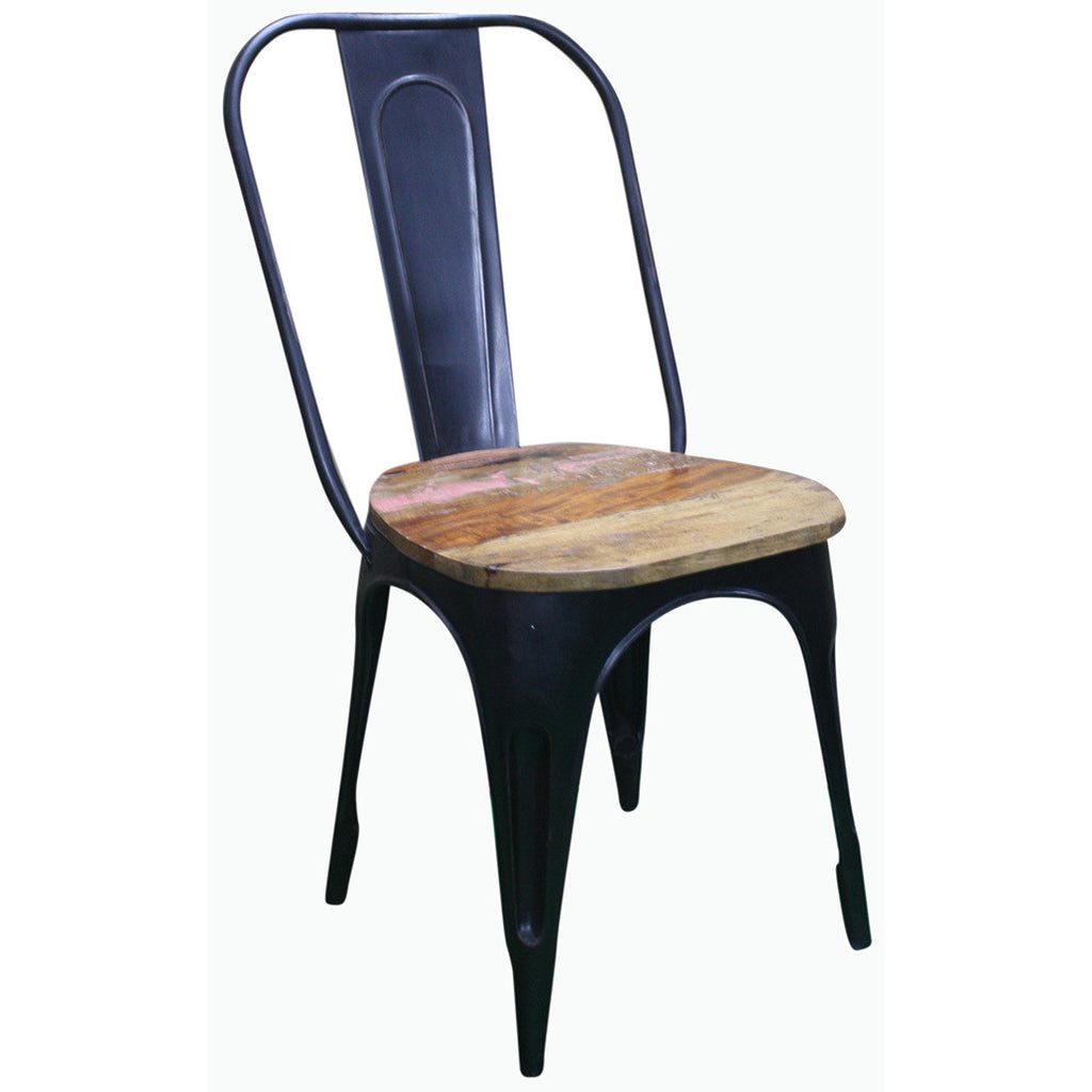 Metal Chair With Reclaimed Wood Seat   Furniture   George U0026 Augie