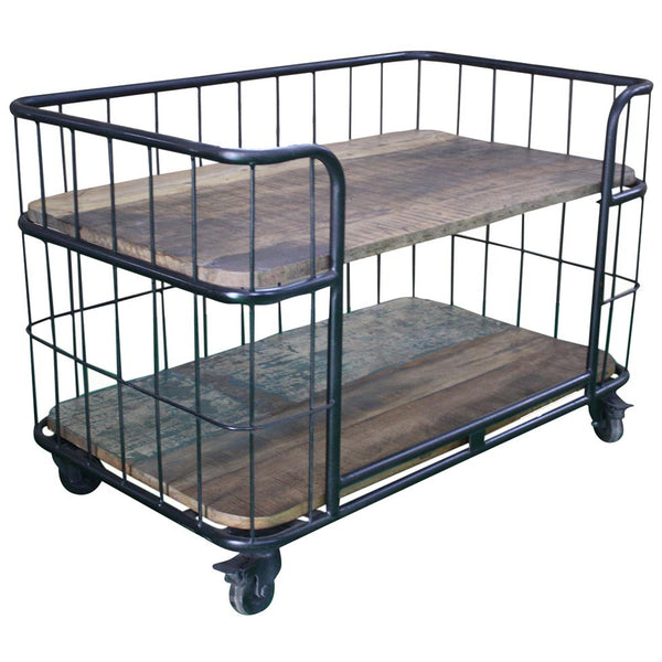 Metal Cart with Reclaimed Wood Shelves - Furniture - George & Augie