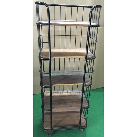 Metal Bookcase Cart with Reclaimed Wood Shelves - Furniture - George & Augie