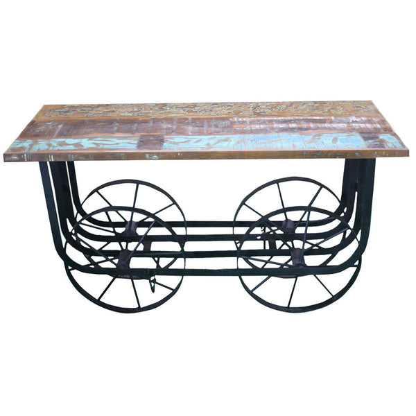 Industrial Wheel Console with Wooden Top - Furniture - George & Augie