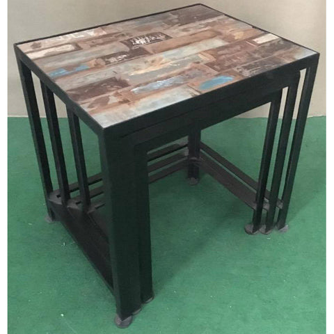 Metal and Reclaimed Wood Side Table 3 Piece Set - Furniture - George & Augie