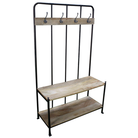 Metal and Wood Coat Hanger Bench - Furniture - George & Augie