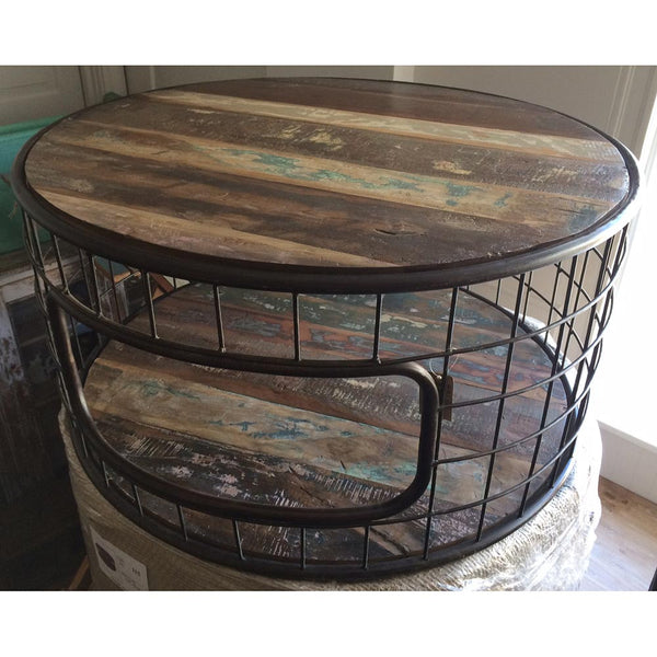 Round Metal and Reclaimed Wood Coffee Table - Furniture - George & Augie