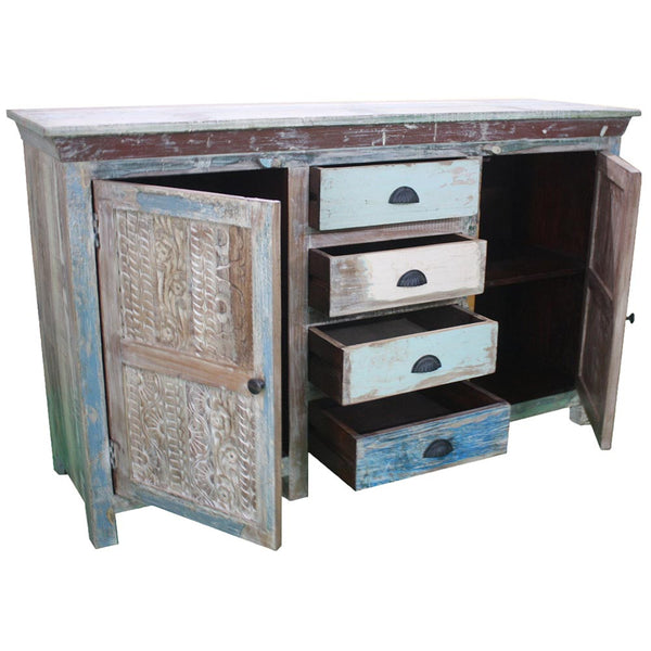 Reclaimed Wood Sideboard with Carved Detail - Furniture - George & Augie