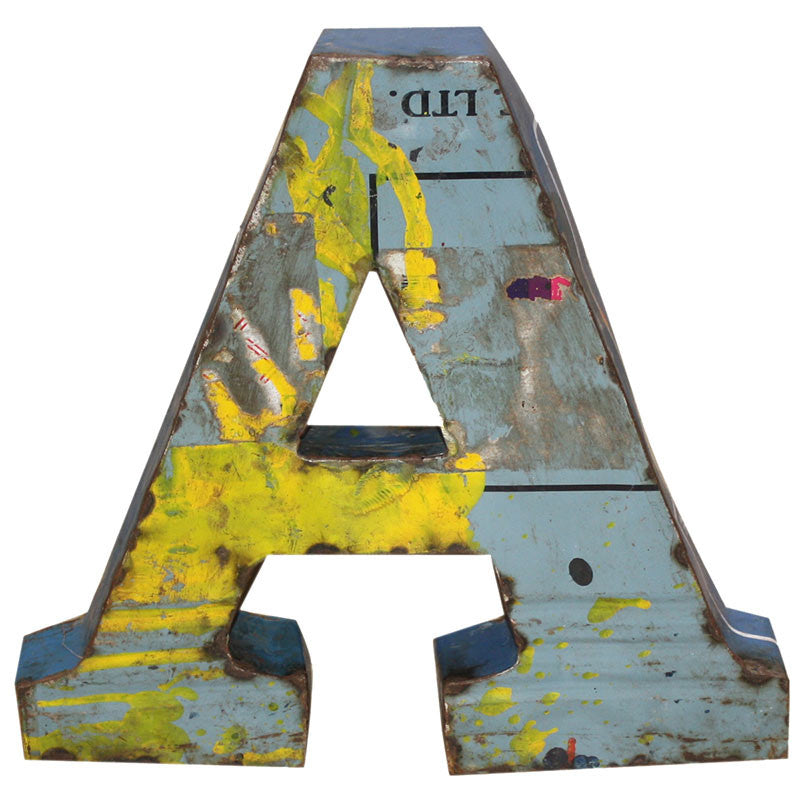 Recycled Metal Letters A - Decor - George & Augie