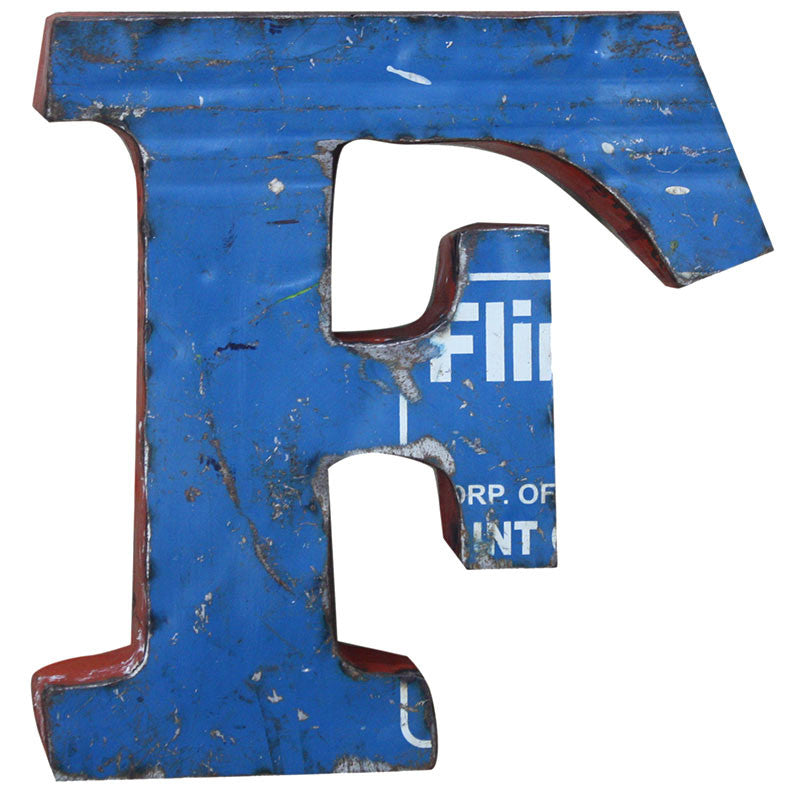Recycled Metal Letters F - Decor - George & Augie