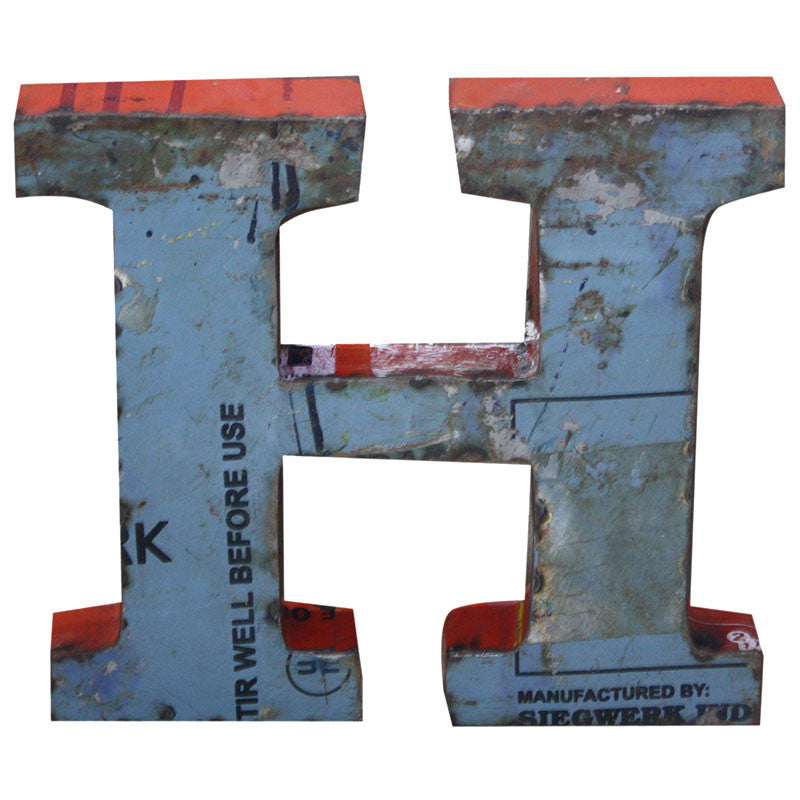 Recycled Metal Letters H - Decor - George & Augie