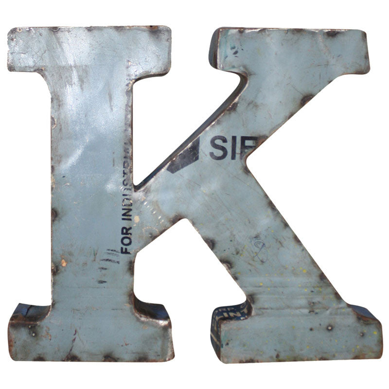 Recycled Metal Letters K - Decor - George & Augie