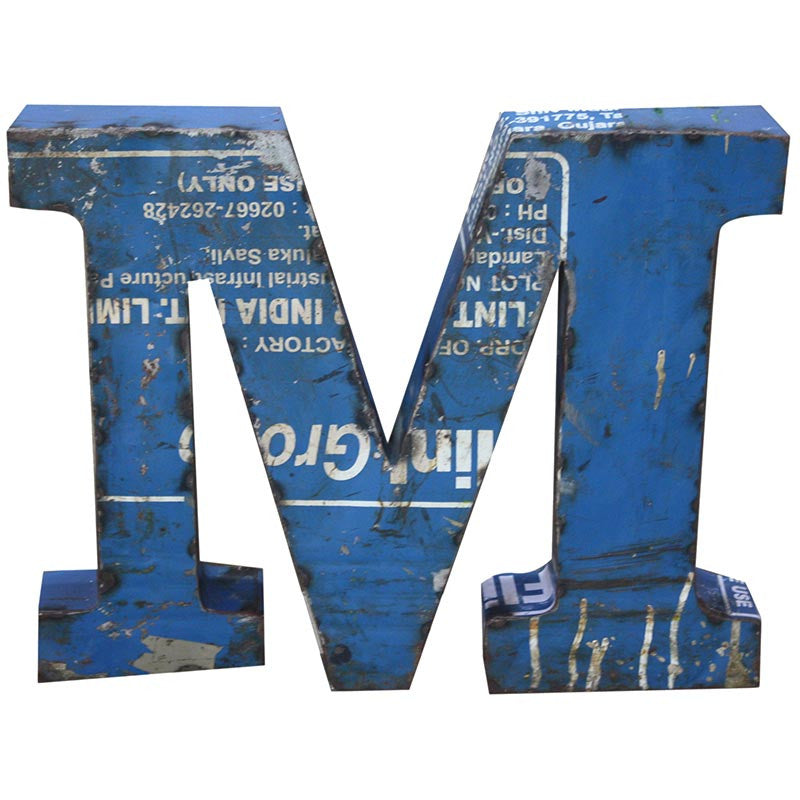Recycled Metal Letters M - Decor - George & Augie