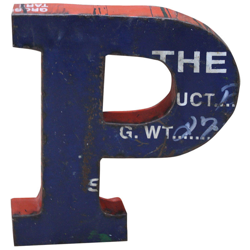 Recycled Metal Letters P - Decor - George & Augie
