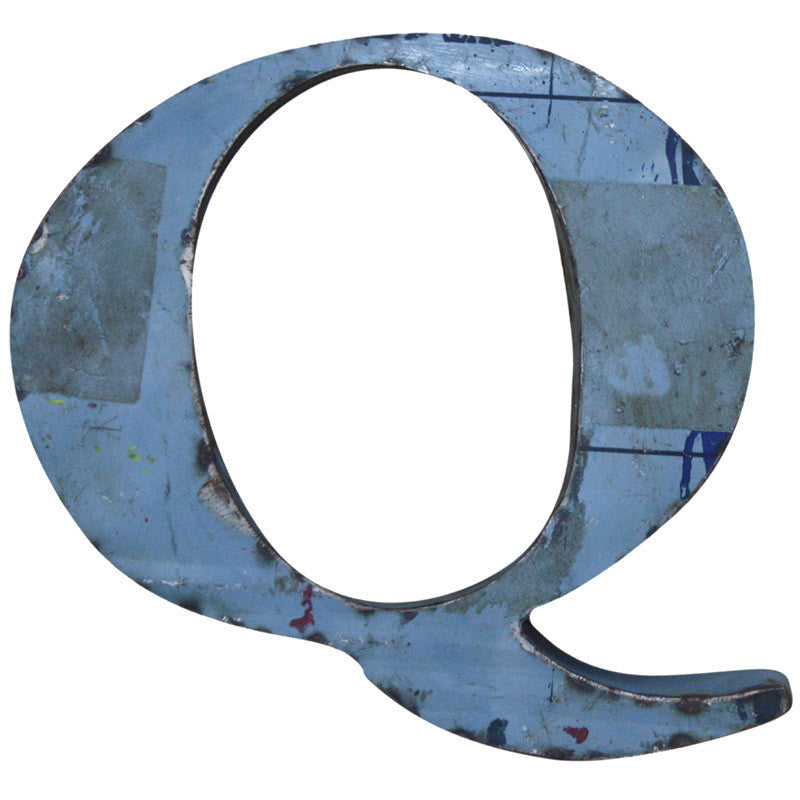 Recycled Metal Letters Q - Decor - George & Augie