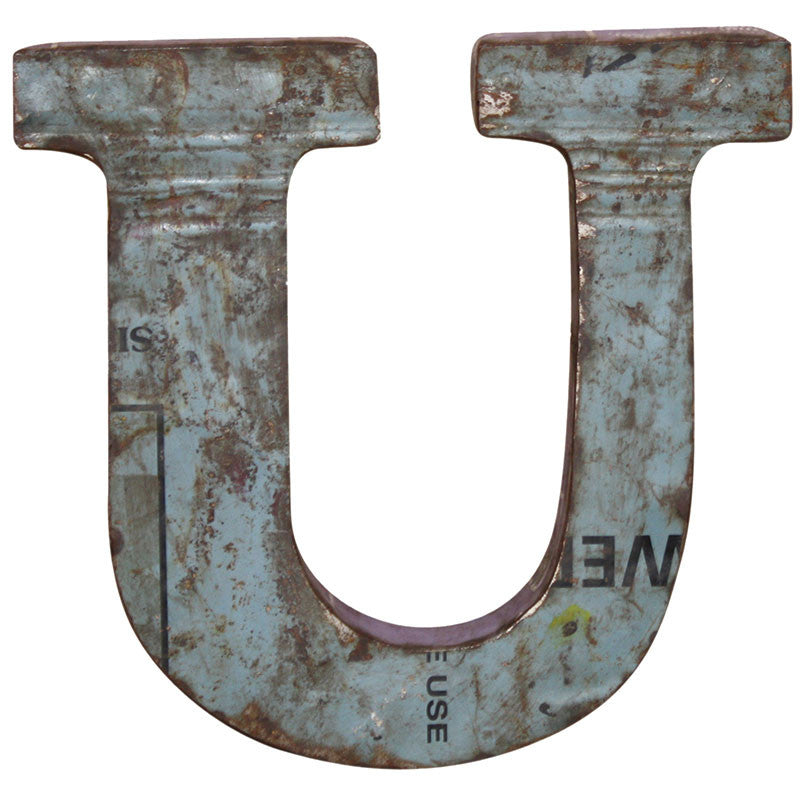 Recycled Metal Letters U - Decor - George & Augie