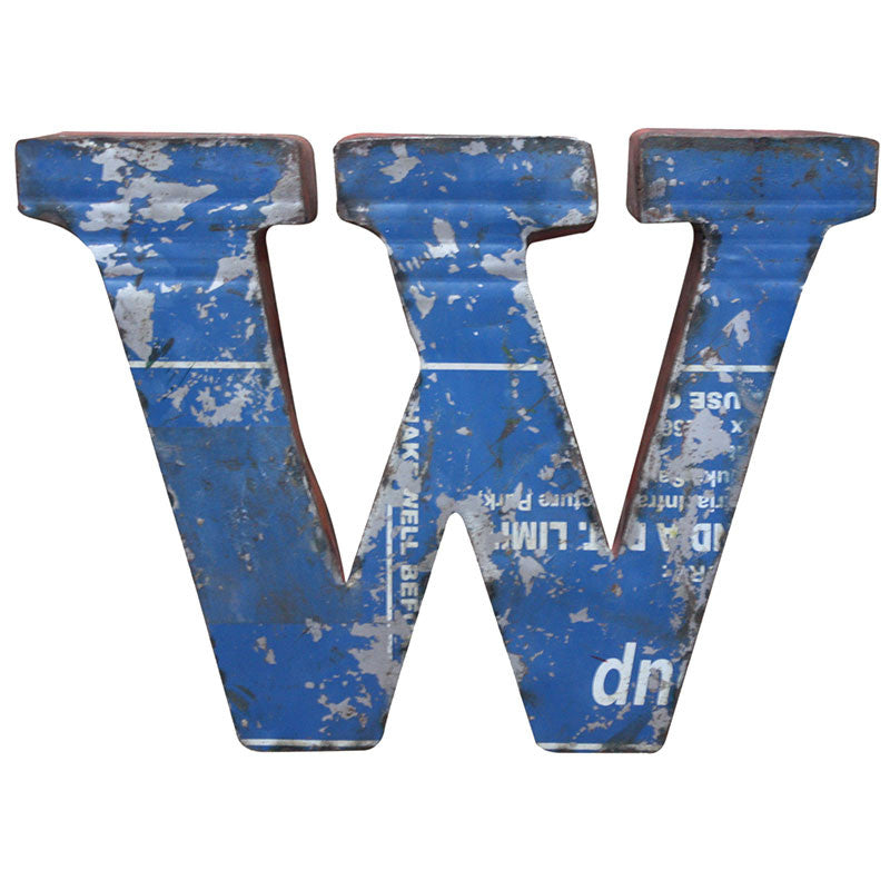 Recycled Metal Letters W - Decor - George & Augie