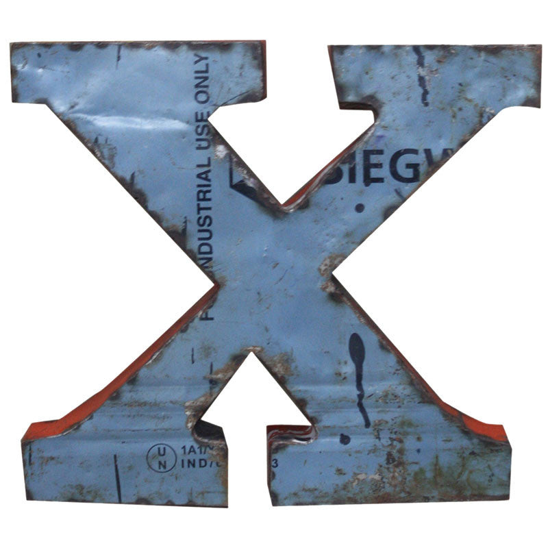 Recycled Metal Letters X - Decor - George & Augie