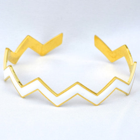 Chevron White Bracelet - White - Accessories - George & Augie