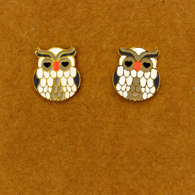 Heart Eye Owl Earring - Grey - Accessories - George & Augie