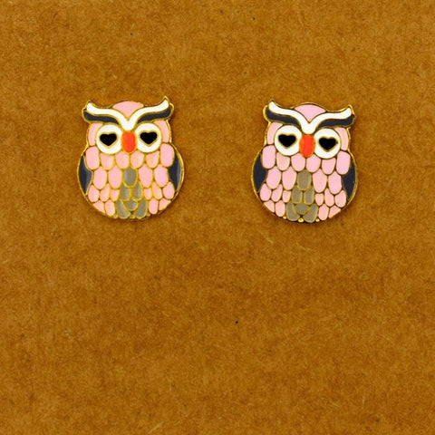 Heart Eye Owl Earring - Pink - Accessories - George & Augie