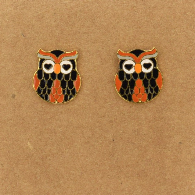 Heart Eye Owl Earring - Brown - Accessories - George & Augie