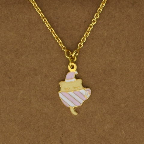 Tea Cup Kitten Necklace - Pink - Accessories - George & Augie
