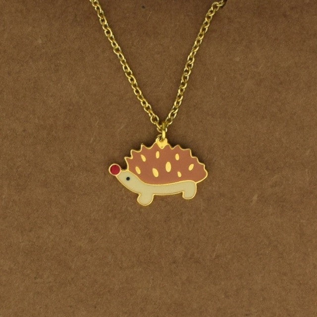 Hedgehog Necklace - Brown - Accessories - George & Augie