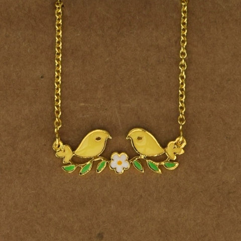 Love Birds Necklace - Yellow - Accessories - George & Augie