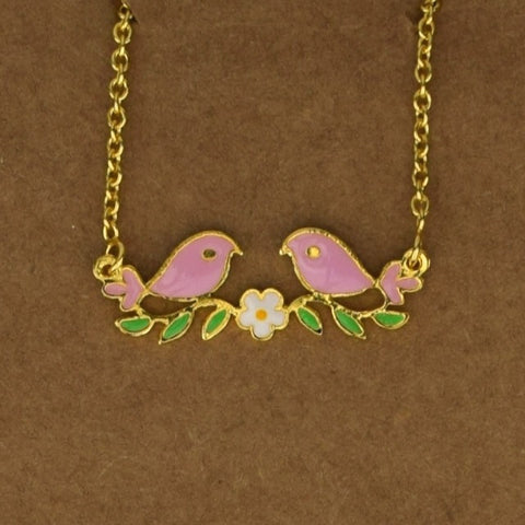 Love Birds Necklace - Pink - Accessories - George & Augie