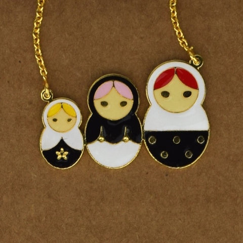 Russian Dolls Necklace - White - Accessories - George & Augie