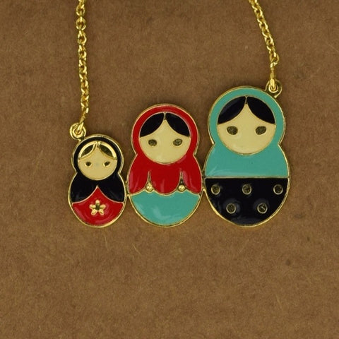 Russian Dolls Necklace - Red - Accessories - George & Augie