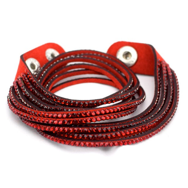 Jeweled Wrap Bracelet - Red - Accessories - George & Augie