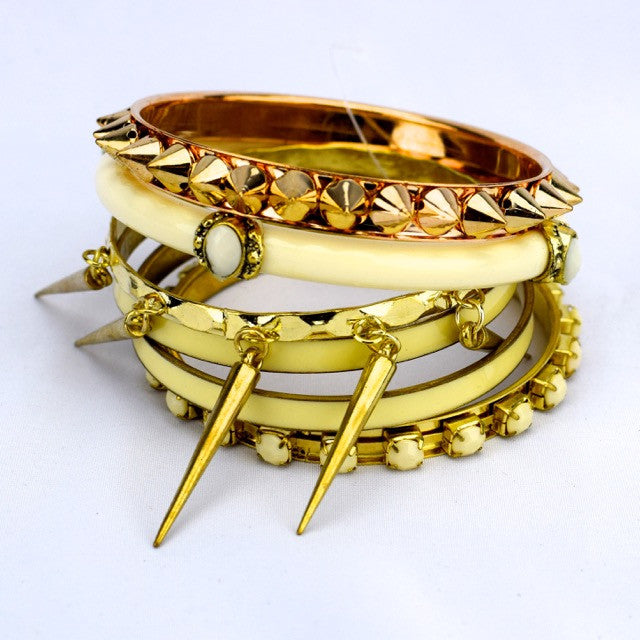 Stacked Bangle Multi Pack Bracelet - White, Gold - Accessories - George & Augie