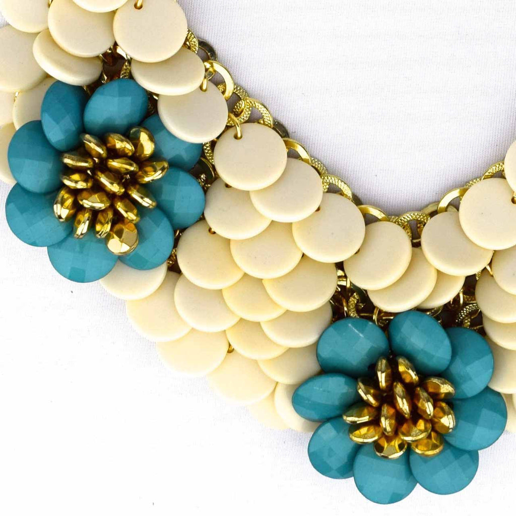 Draped Flower Necklace - Aqua - Accessories - George & Augie