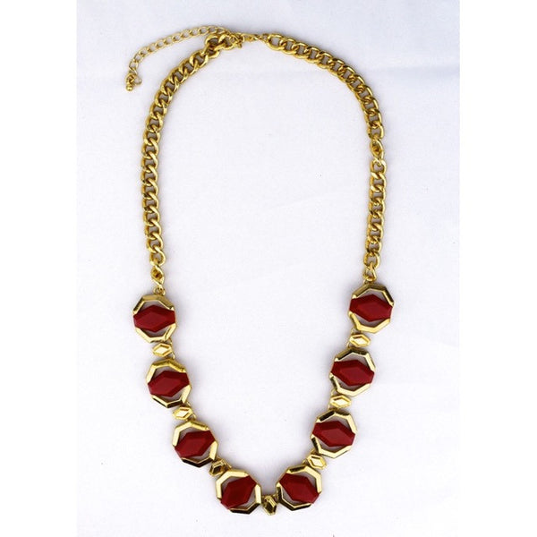 Geometric Jewel Necklace - Dark Red - Accessories - George & Augie