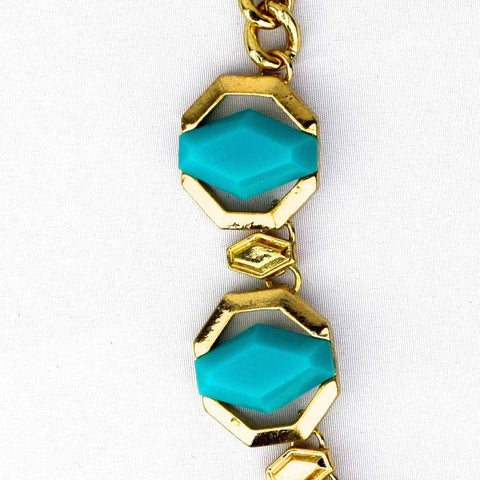 Geometric Jewel Necklace - Aqua - Accessories - George & Augie