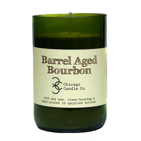 Barrel Aged Bourbon Recycled Wine Bottle Soy Candle 11oz - Decor - George & Augie
