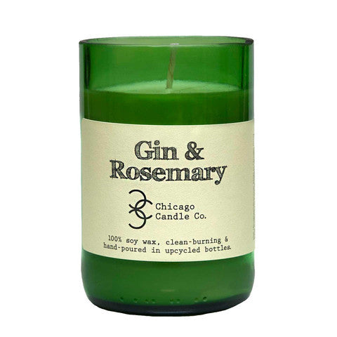 Gin & Rosemary Recycled Wine Bottle Soy Candle 11oz - Decor - George & Augie