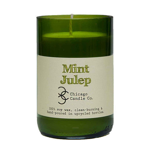 Mint Julep Recycled Wine Bottle Soy Candle 11oz - Decor - George & Augie