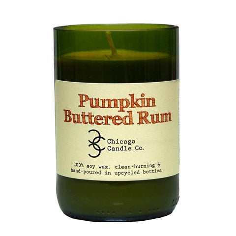 Pumpkin Buttered Rum Recycled Wine Bottle Soy Candle 11oz - Decor - George & Augie