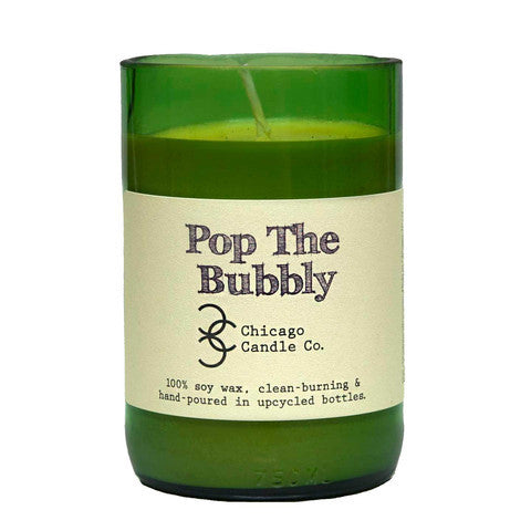 Pop The Bubbly Recycled Wine Bottle Soy Candle 11oz - Decor - George & Augie