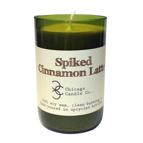 Spiked Cinnemon Latte Recycled Wine Bottle Soy Candle 11oz - Decor - George & Augie