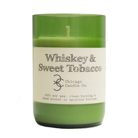 Whiskey & Sweet Tobacco Recycled Wine Bottle Soy Candle 11oz - Decor - George & Augie