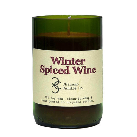 Winter Spiced Wine Recycled Wine Bottle Soy Candle 11oz - Decor - George & Augie