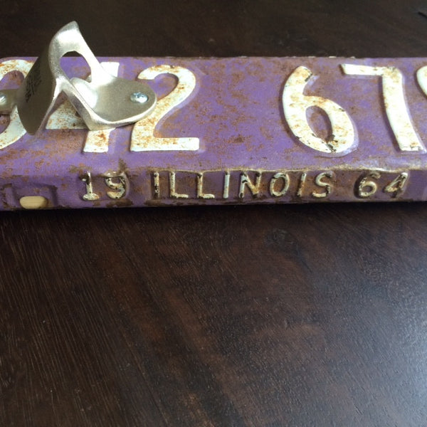 IL License Plate Openers - Vintage License Plate with Reclaimed Detroit Wood - Decor - George & Augie