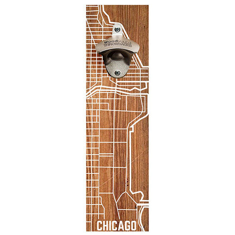 Chicago Map Reclaimed Wood Bottle Opener - Decor - George & Augie