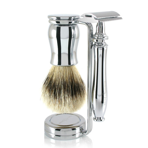 Edwin Jagger Chatsworth Chrome DE 3-Piece Shaving Set 3PCCSRST