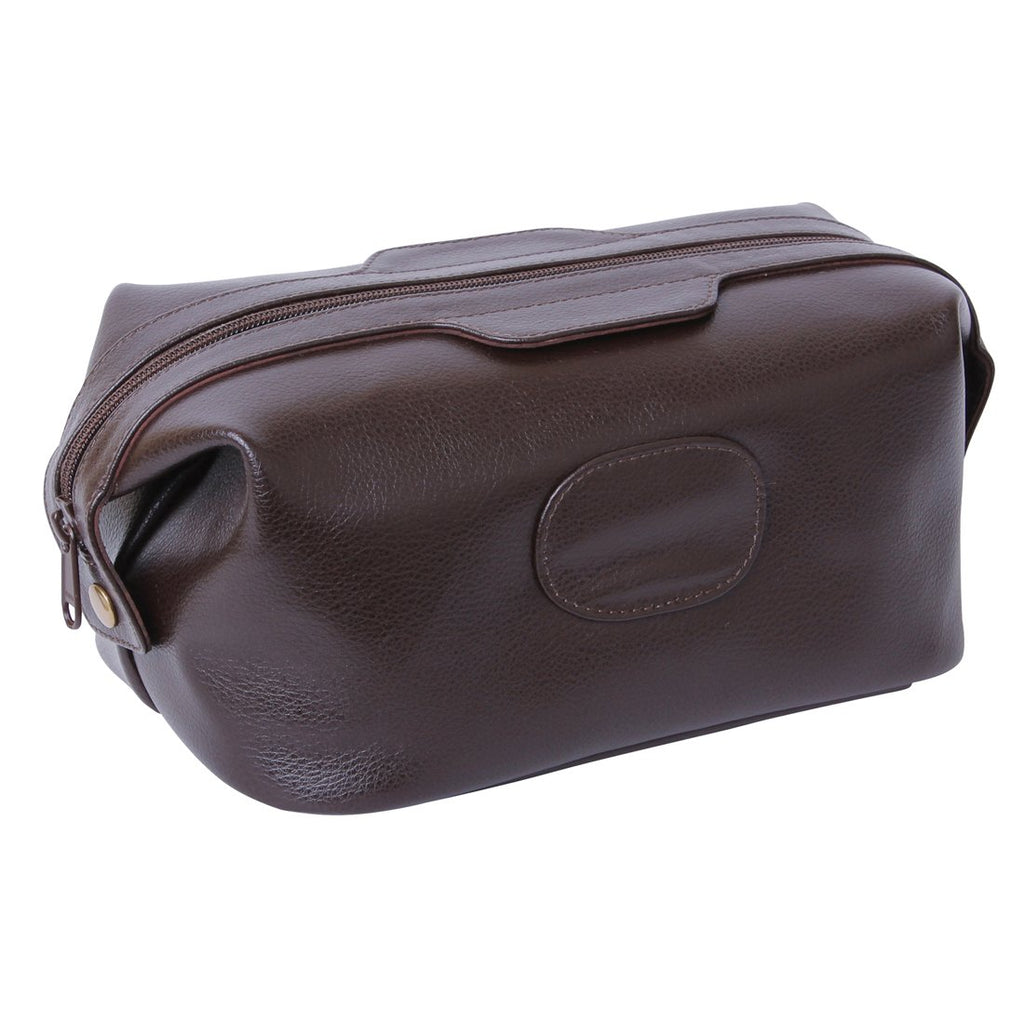 FMG Leather Wash Bag Brown 9401